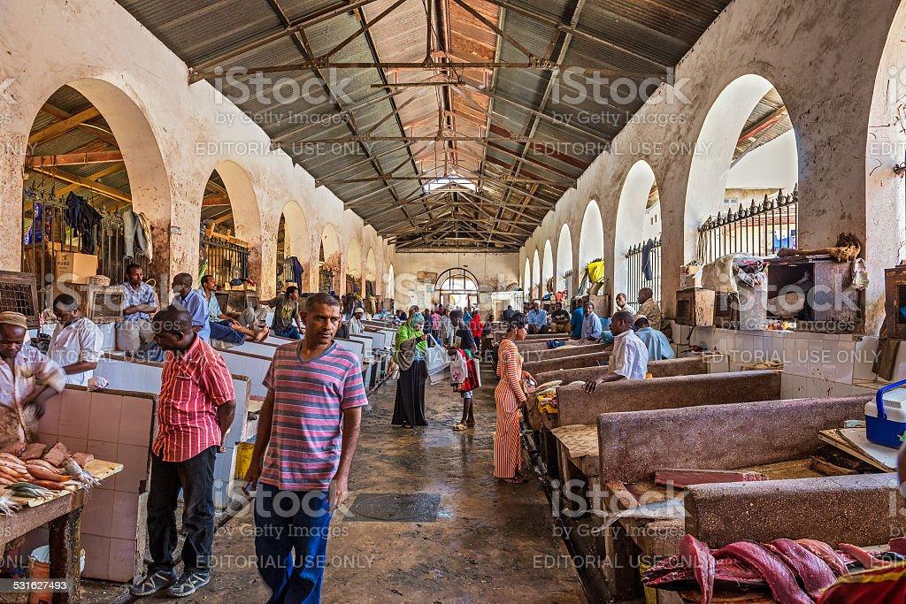 Fish market in Stone Town, Zanzibar, Tanzania stock photo
