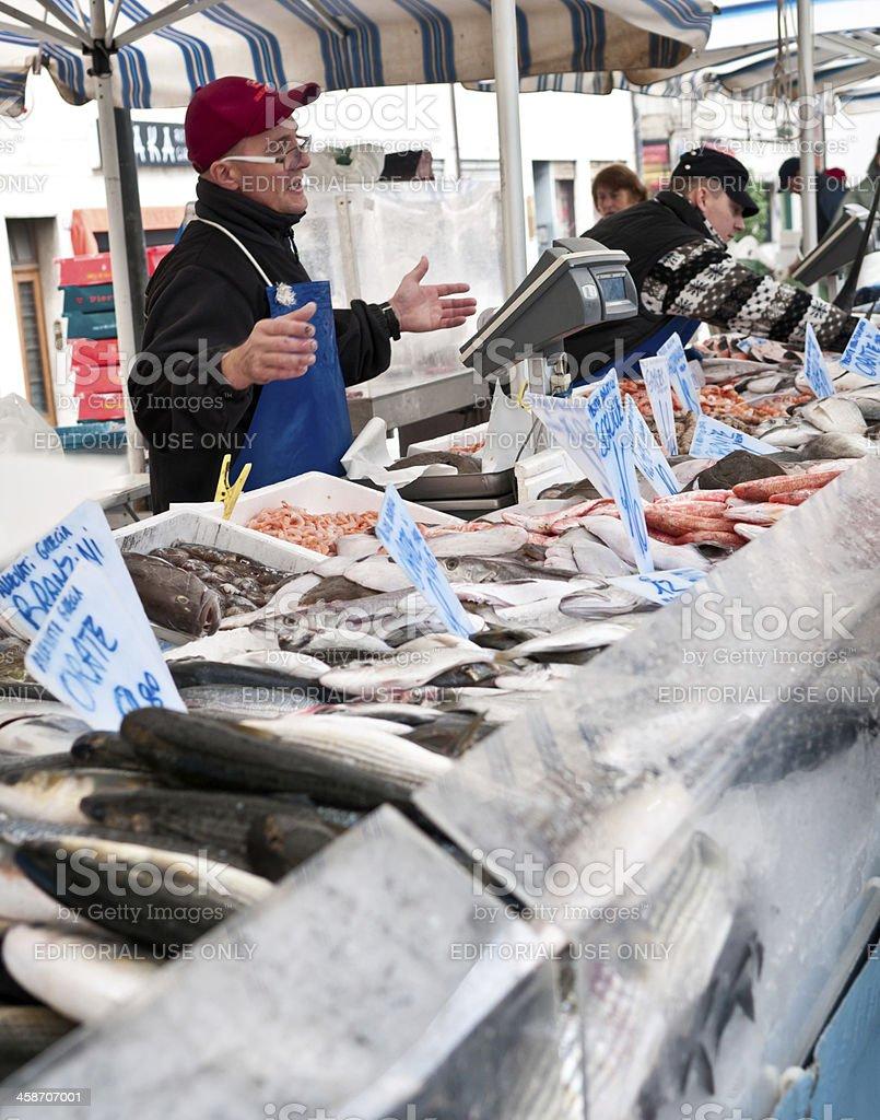 Fish market in Udine, Italy royalty-free stock photo