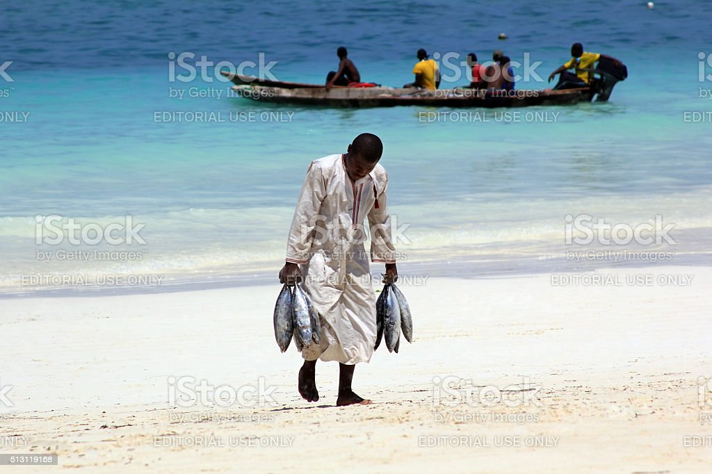 Fish market on the beach stock photo