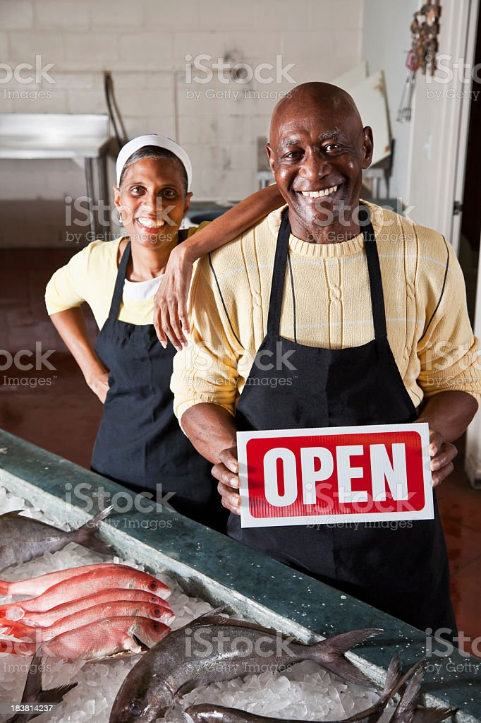 Fish market open for business stock photo