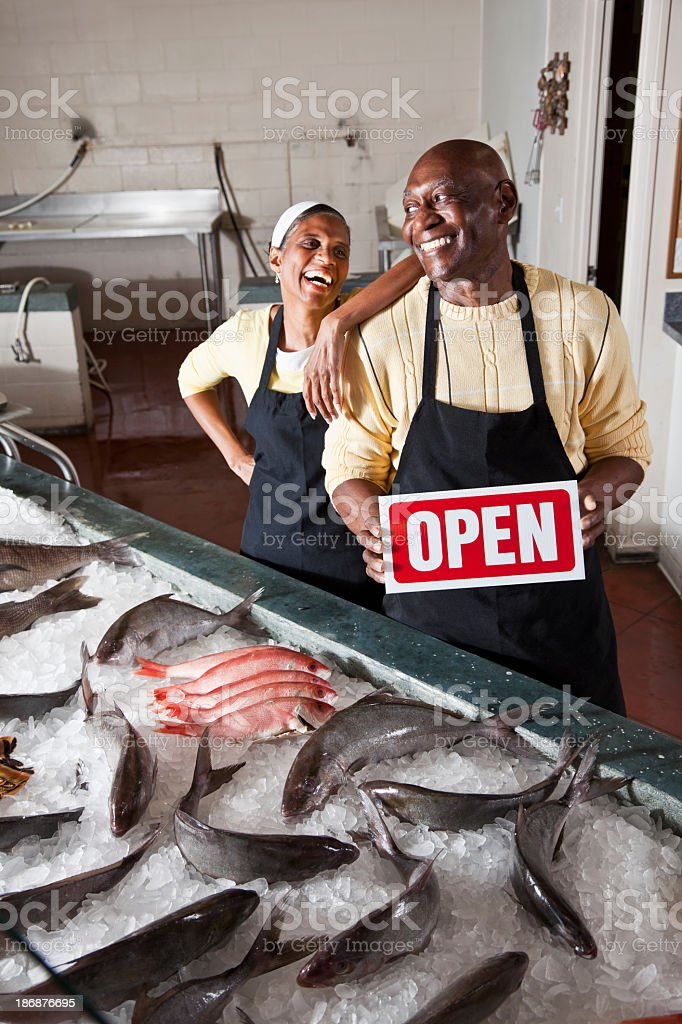Fish market open for business royalty-free stock photo
