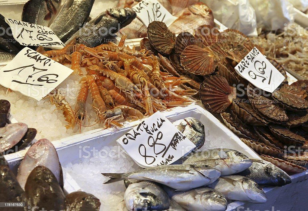Fish market stall royalty-free stock photo