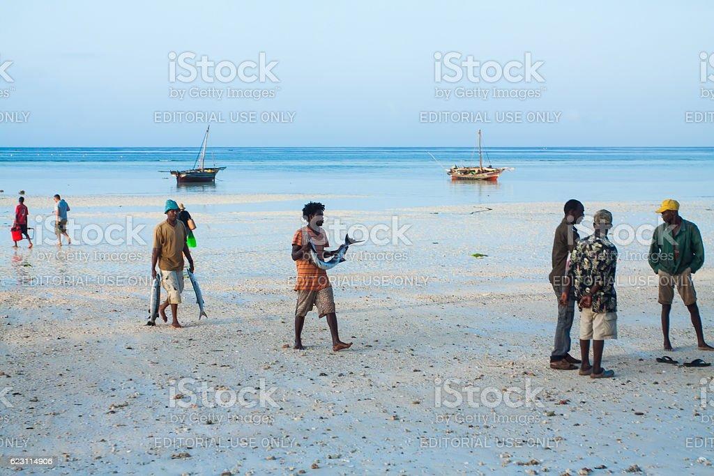 Fish market. Zanzibar stock photo