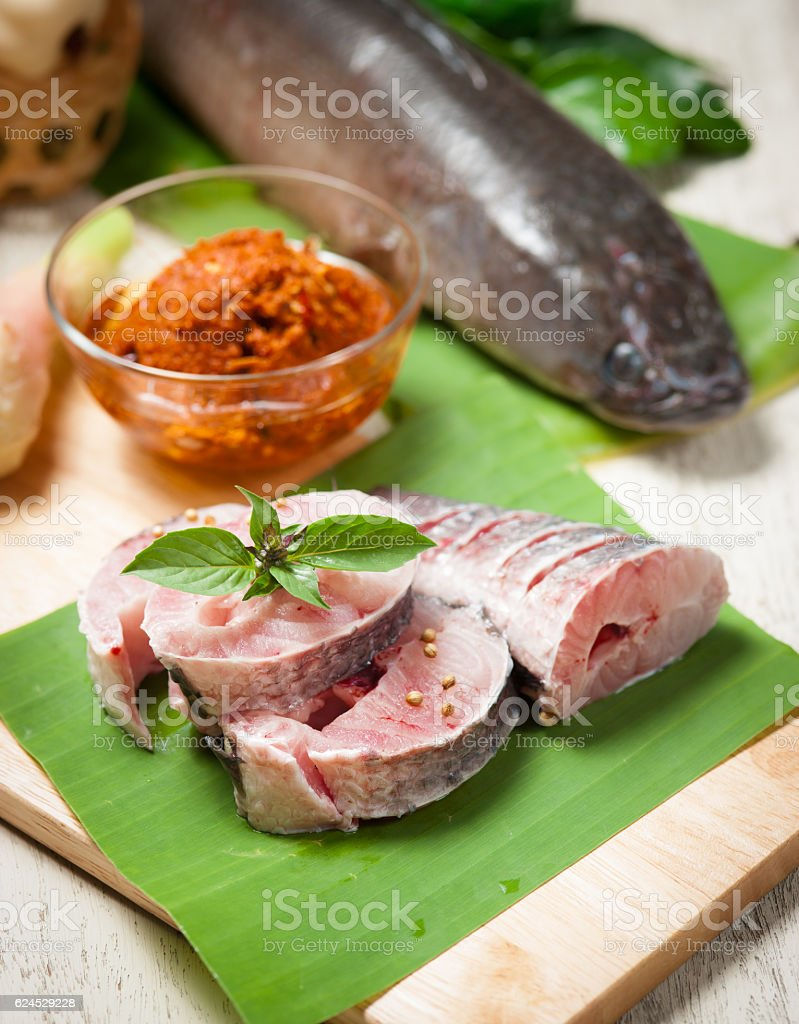 fish meat and Giant snakehead fish with spices stock photo