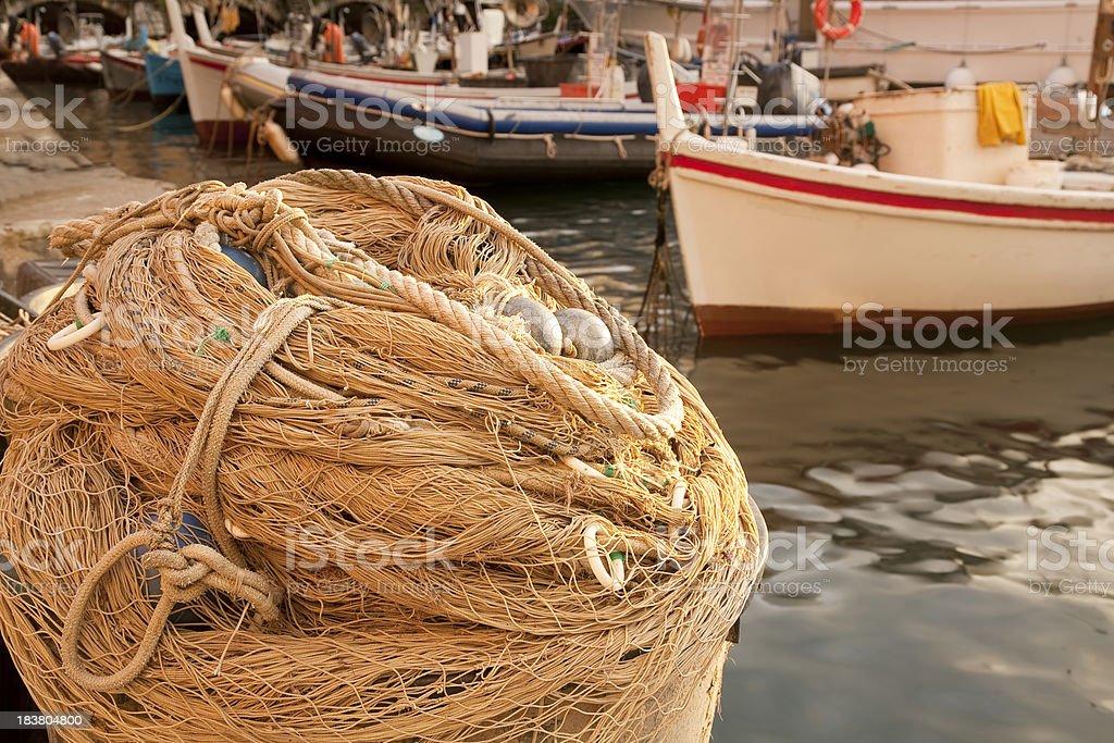 Fish net in Camogli royalty-free stock photo