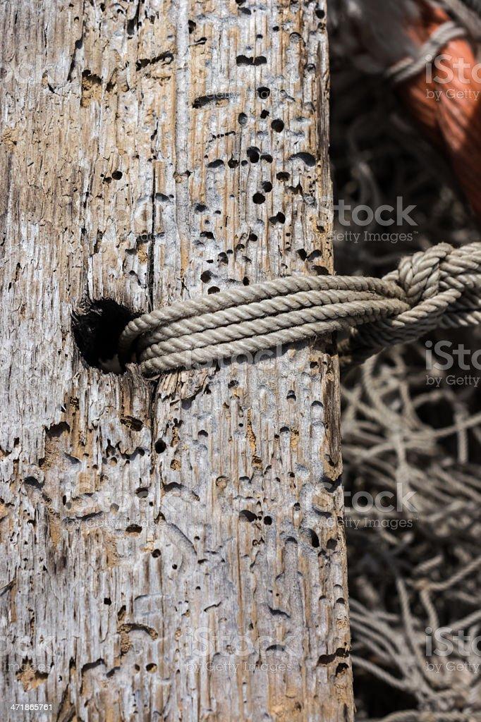 Fish netting wood close up Background royalty-free stock photo