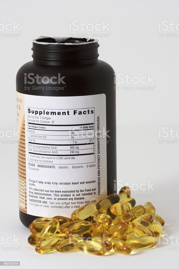 Fish Oil and Bottle stock photo
