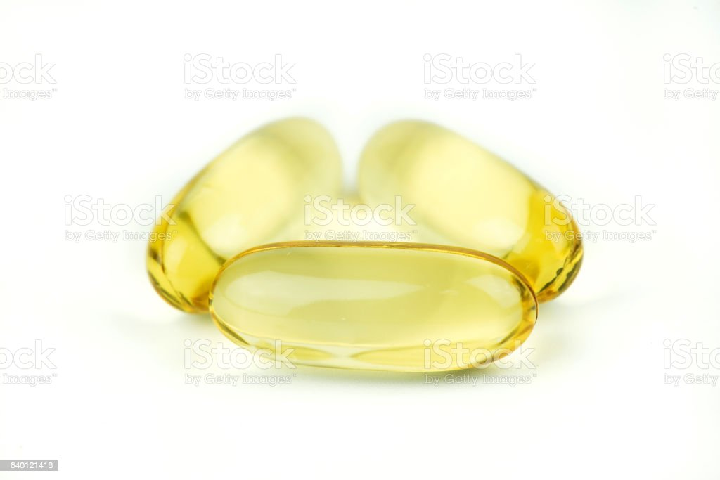 Fish oil capsule isolated on white background. stock photo