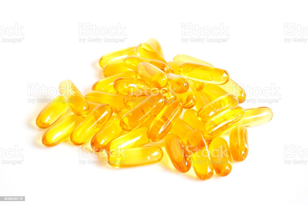 Fish oil capsule on whit background. stock photo