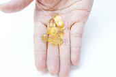 Fish oil capsules in health food supplement.