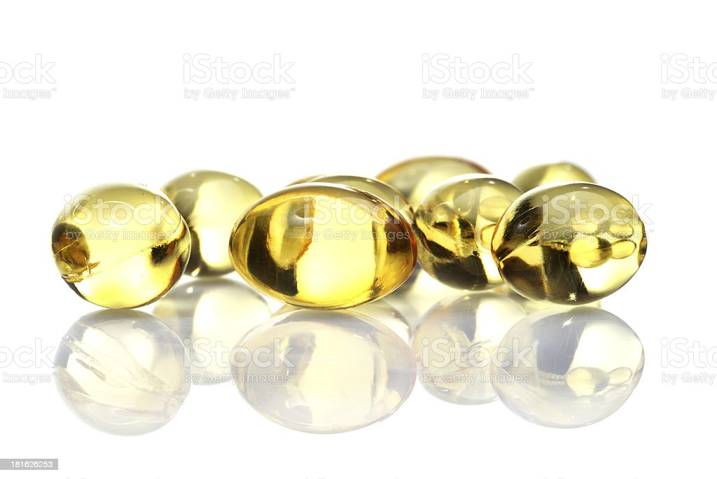 fish oil capsules  isolated on white background royalty-free stock photo