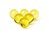 Fish oil capsules isolated.