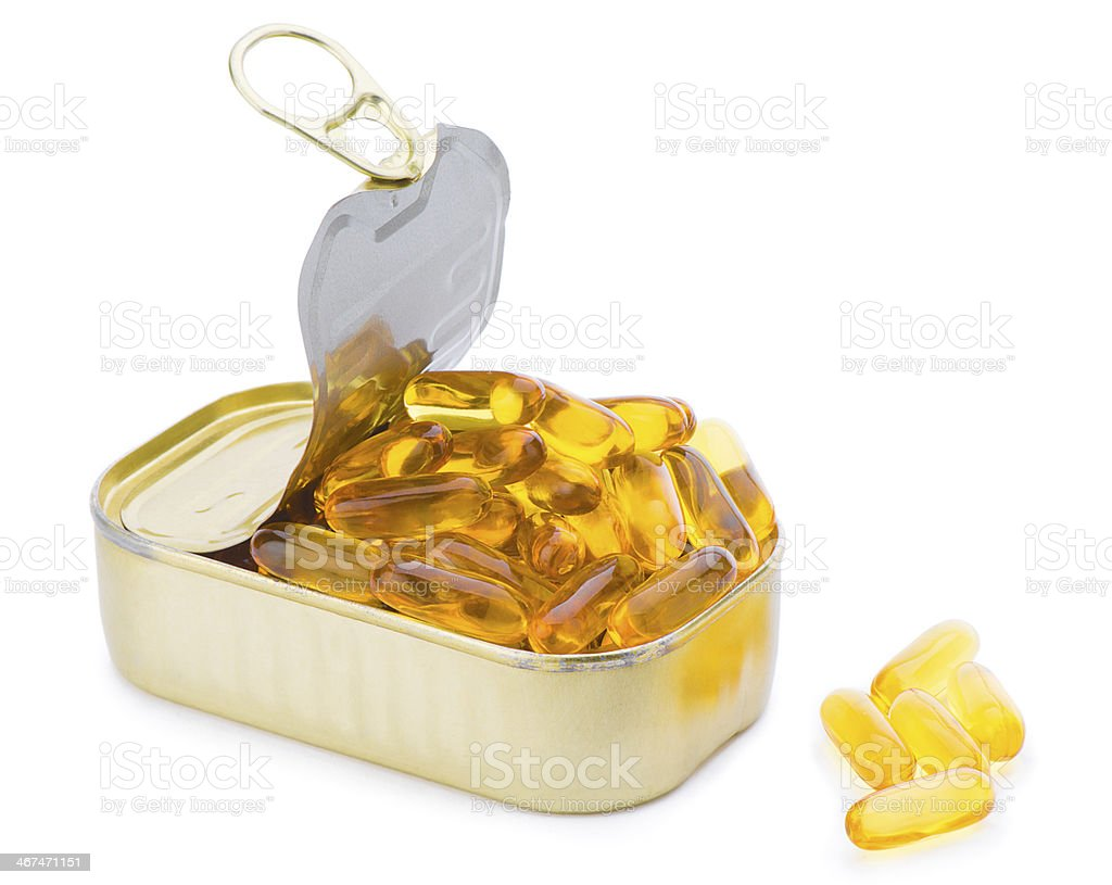 Fish Oil Capsules out of Can royalty-free stock photo