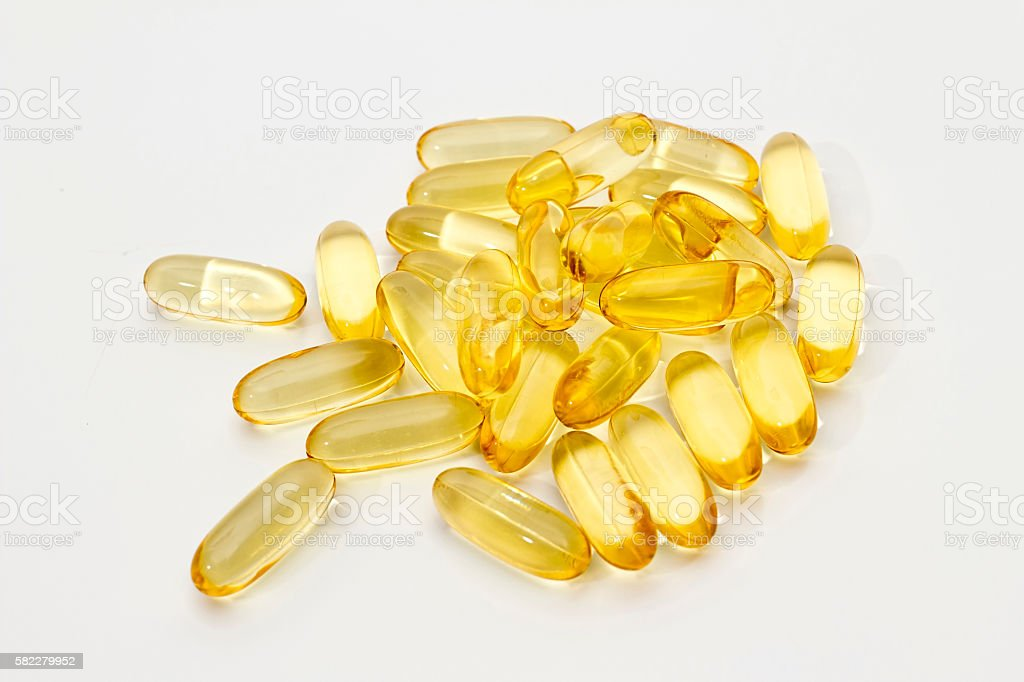 Fish oil on white background stock photo