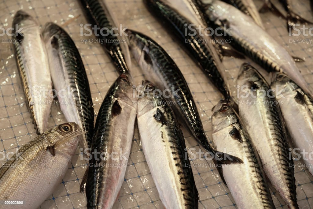 Fish on display at the outdoor fish market, Syracuse, Italy stock photo