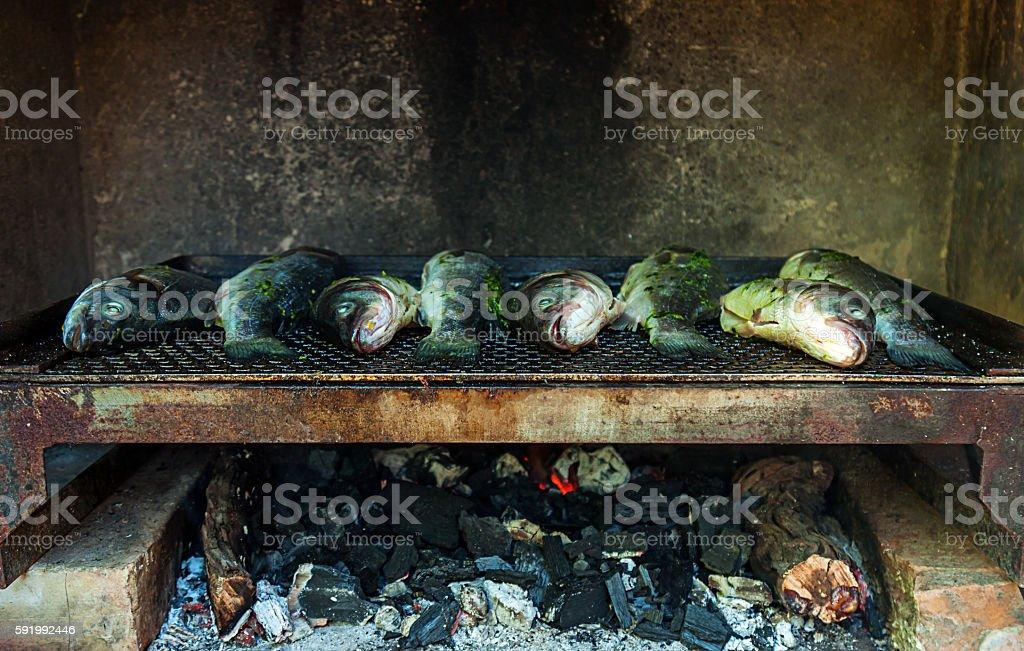 Pesce alla griglia foto stock royalty-free