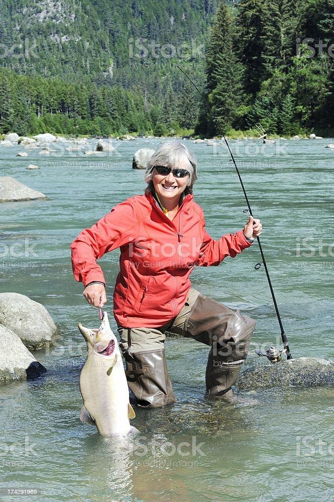 Fish on! royalty-free stock photo