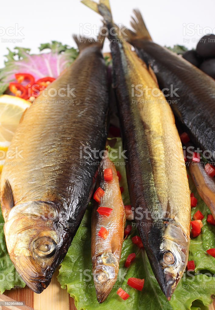 fish on plate with red pepper royalty-free stock photo