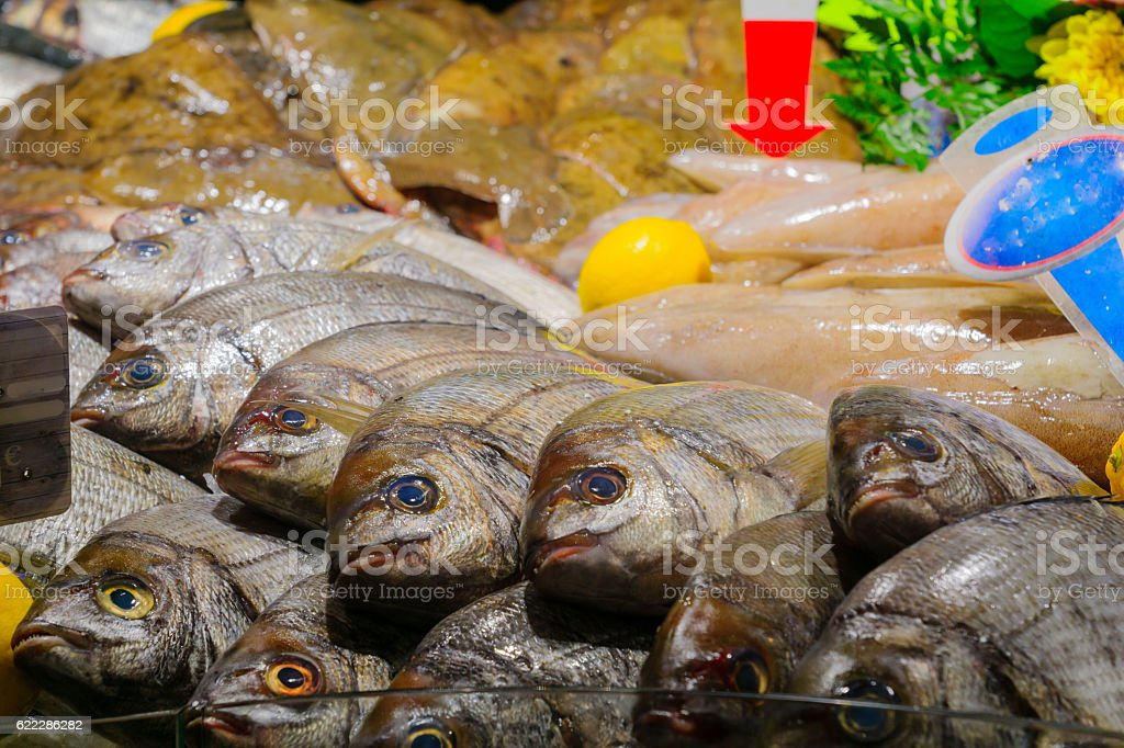Fish on sale in a French market stock photo