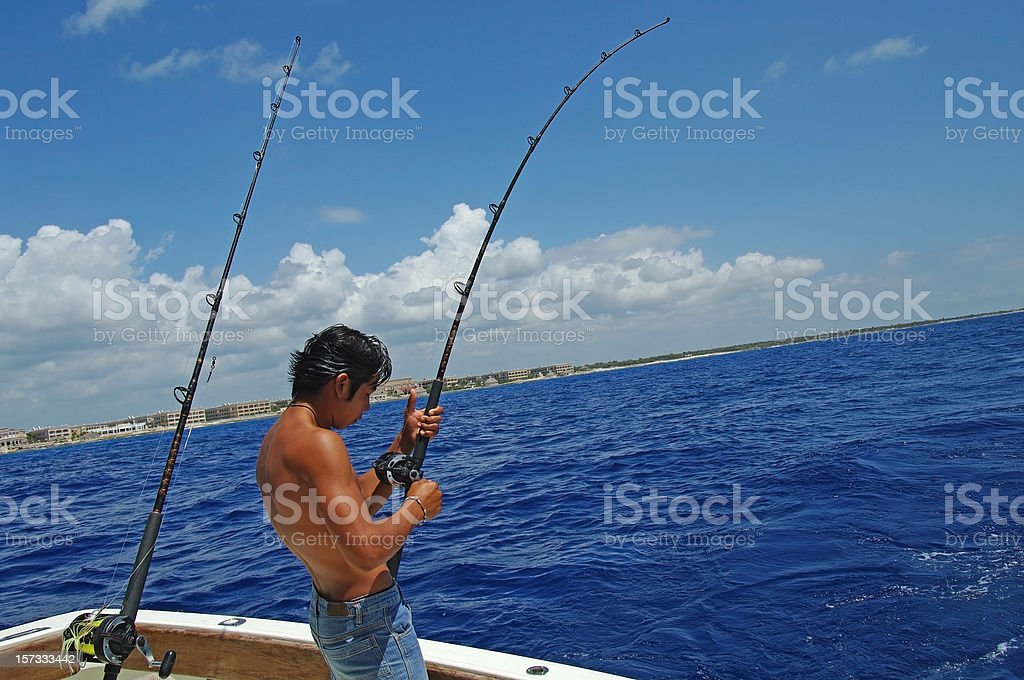 Fish on the hook royalty-free stock photo