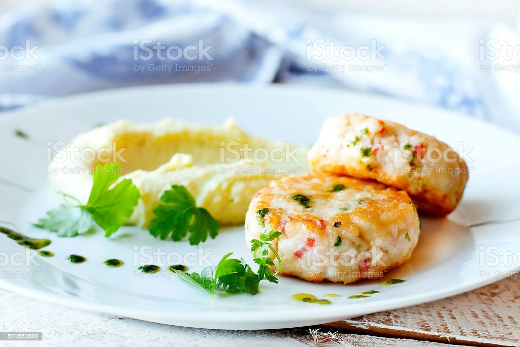 Fish or chicken cutlets with mashed stock photo