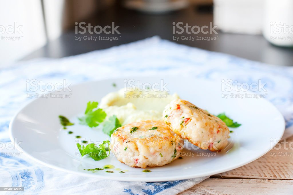 Fish or chicken cutlets with mashed potatoes stock photo