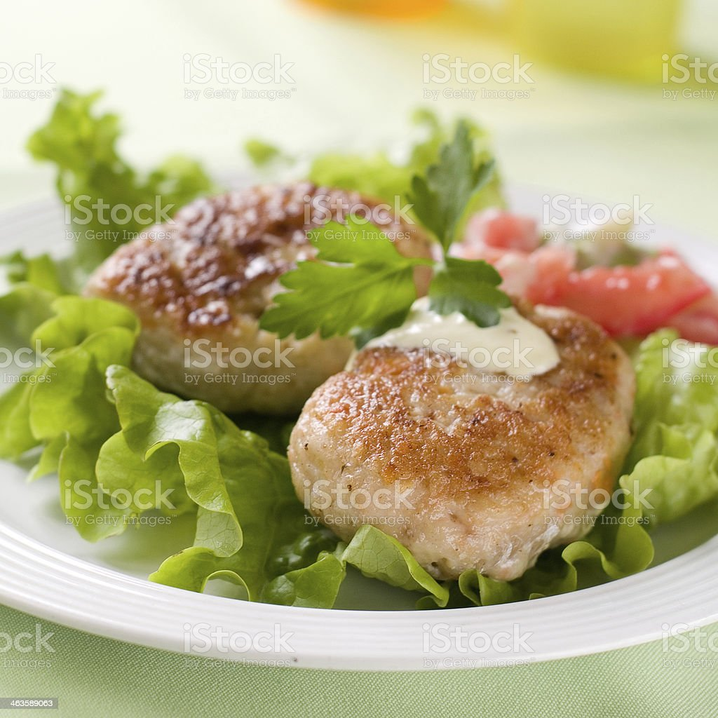 fish or meat  rissole stock photo