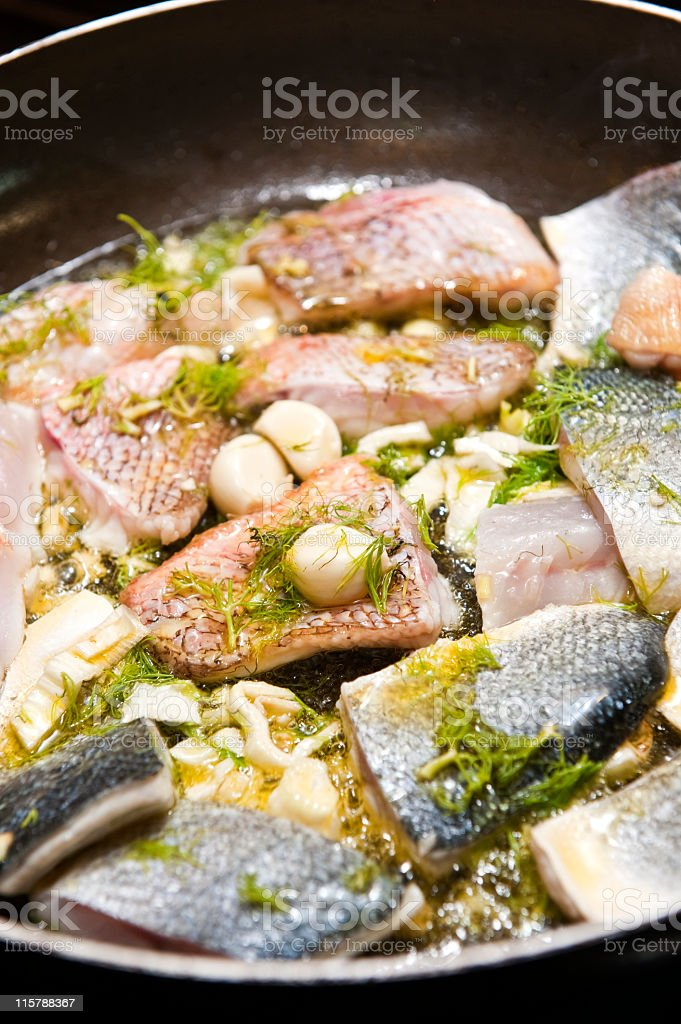Fish pan stock photo