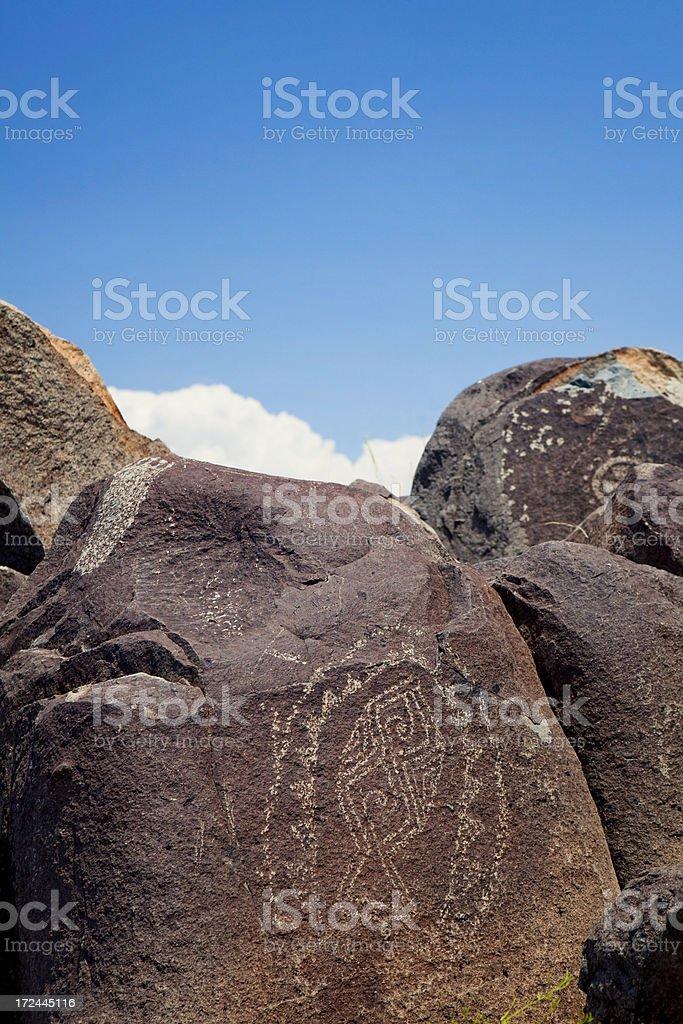 Fish Pictograph - Three Rivers Petroglyph Site royalty-free stock photo