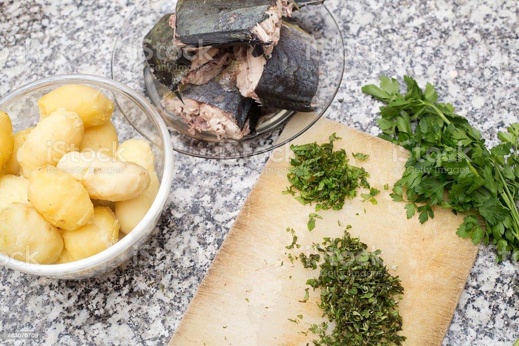 Fish pie preparation royalty-free stock photo