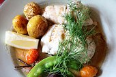 Fish pike perch with potatoes, beetroot and pea pods, Sweden