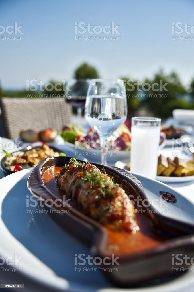 Fish plate of cooked seabass royalty-free stock photo