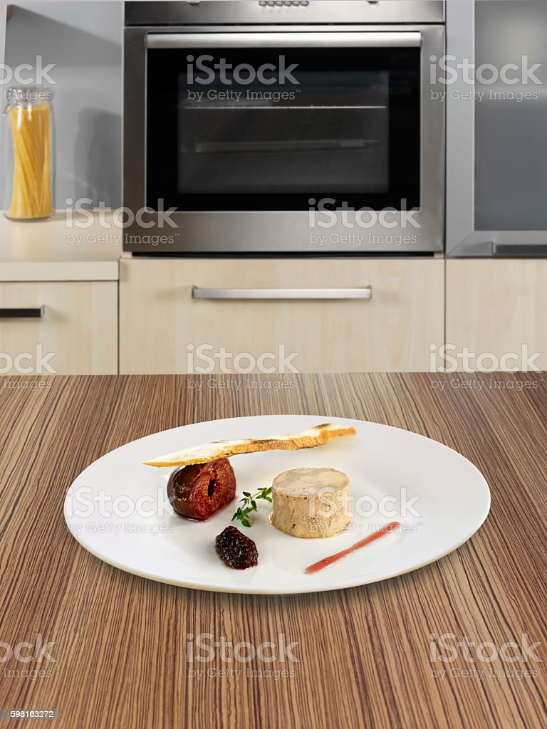 Fish plate on kitchen counter stock photo
