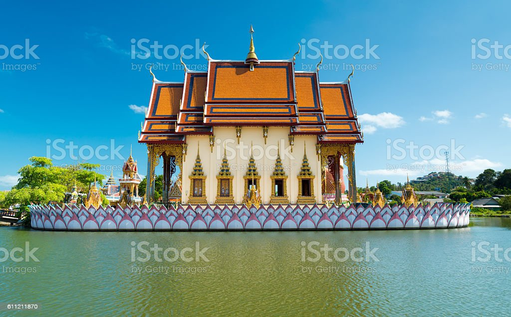 fish pond at Wat Plai Laem temple at Samui Island stock photo