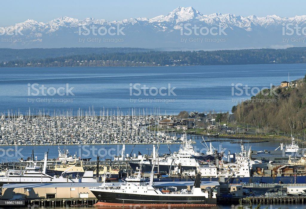 Fish processing ships moored to dock in Seattle WA royalty-free stock photo
