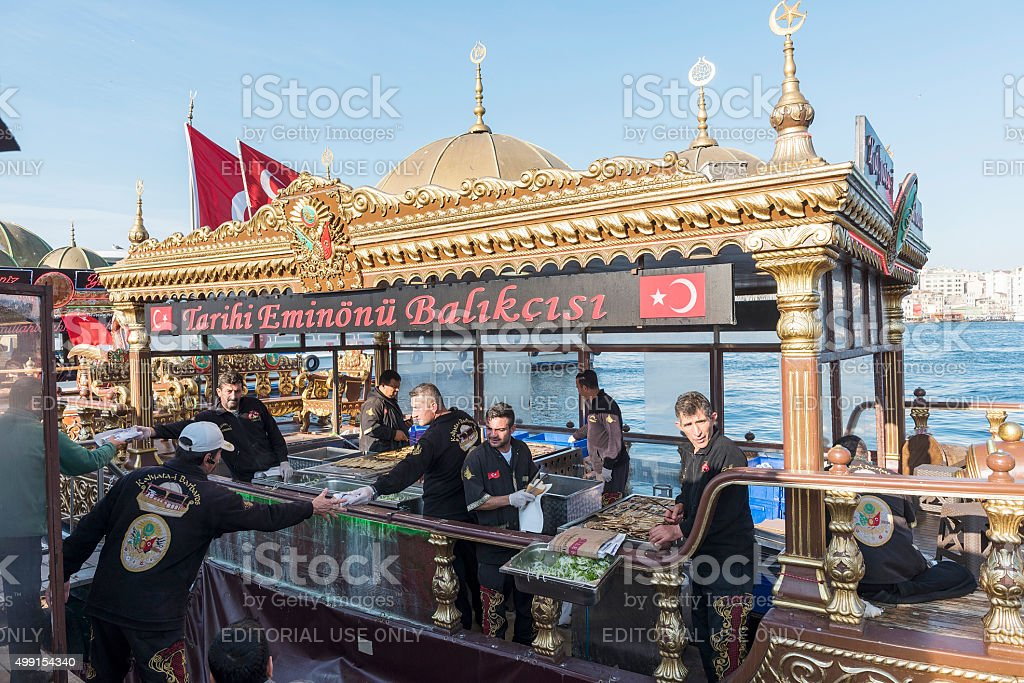 Fish Restaurant on the Boat in Istanbul, Turkey stock photo
