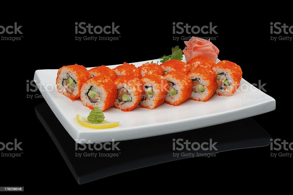 Fish rolls with red caviar royalty-free stock photo