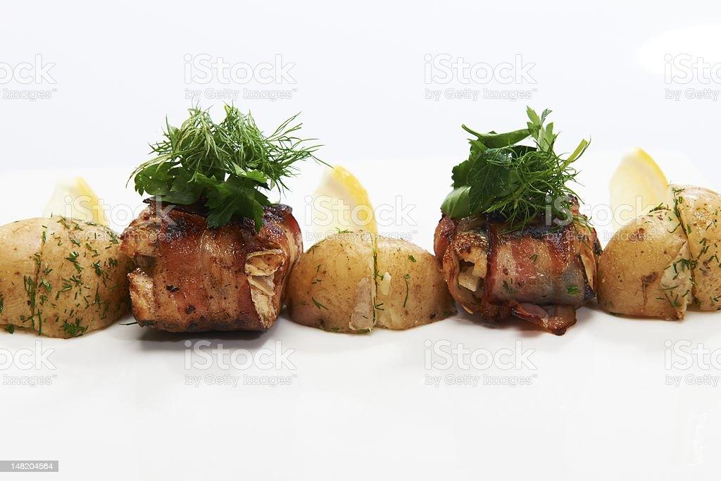 fish roulade with potatos royalty-free stock photo