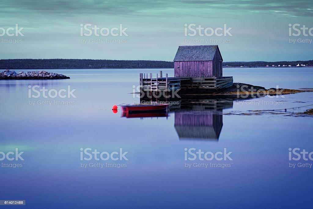 Fish shack, Blue Rocks, Lunenburg, Nova Scotia, Canada. stock photo