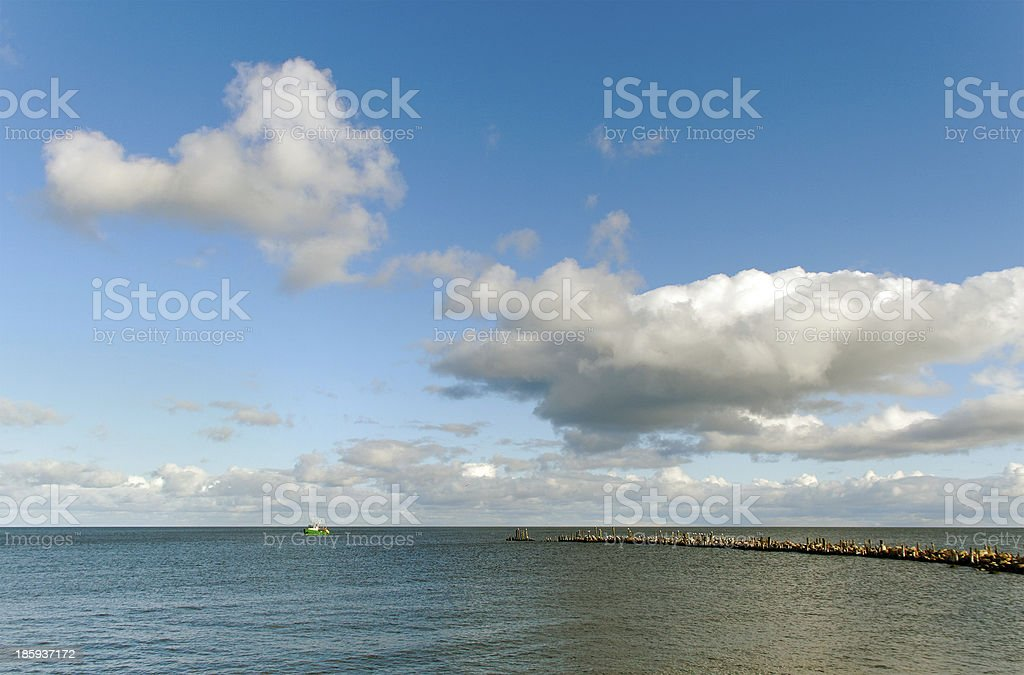 Fish ship on the water. royalty-free stock photo