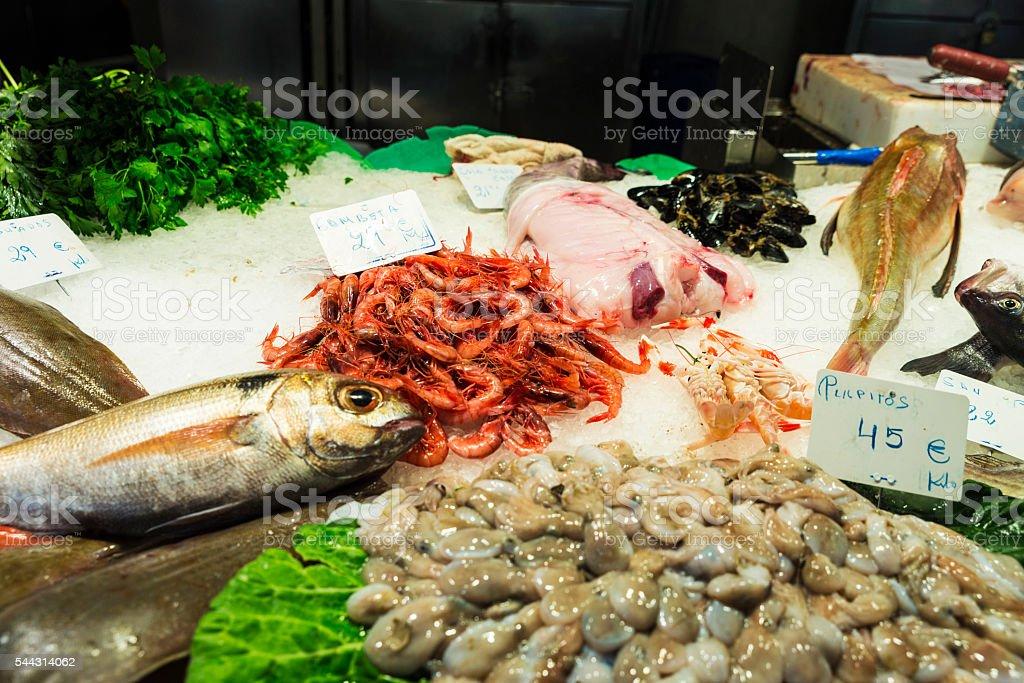 Fish shop in La Boqueria, Barcelona stock photo