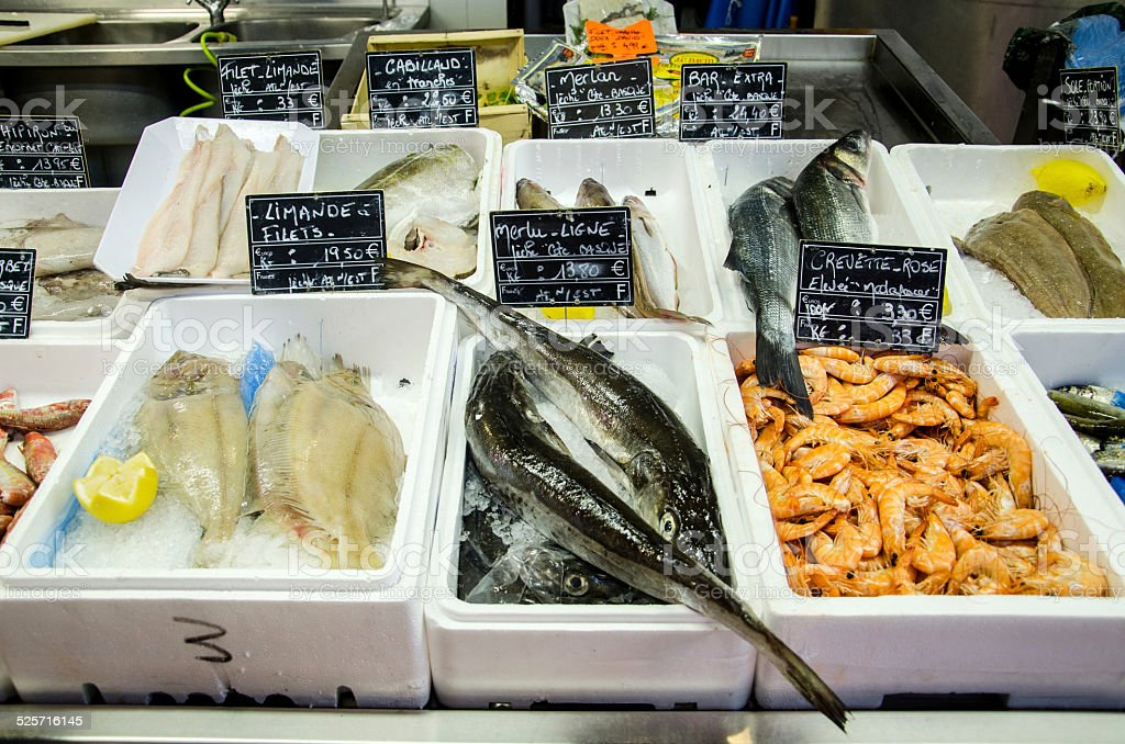 Fish shop stock photo
