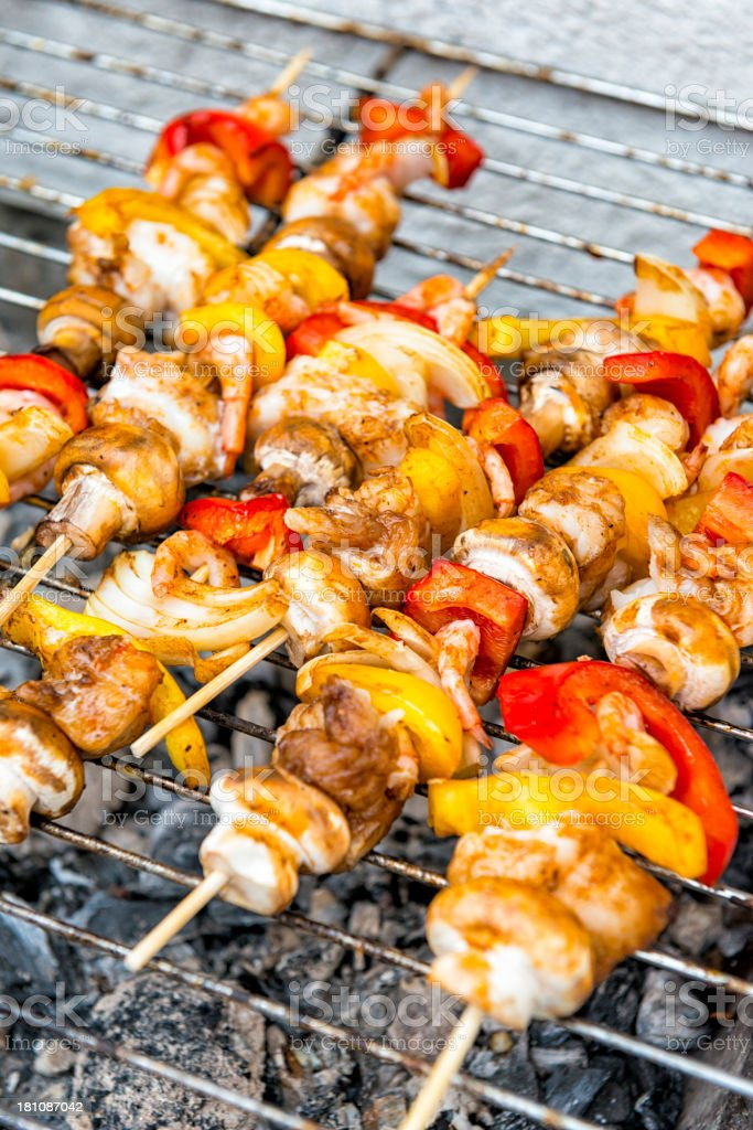 Fish skewers barbecue royalty-free stock photo
