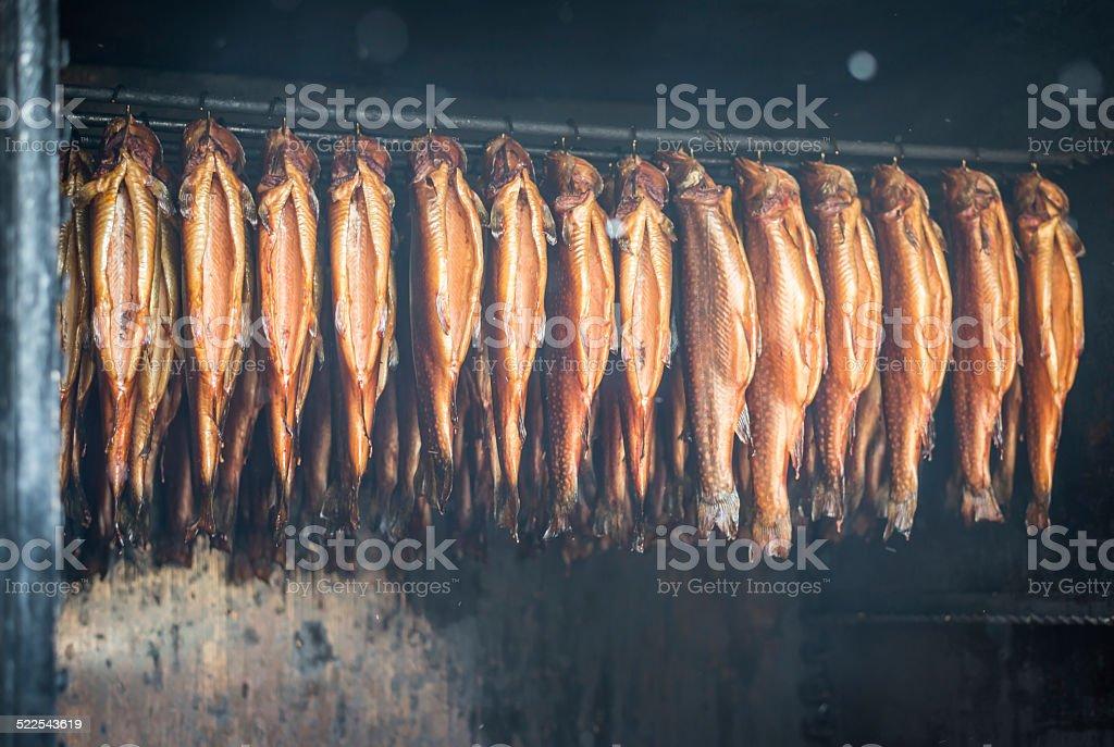 fish smokehouse stock photo