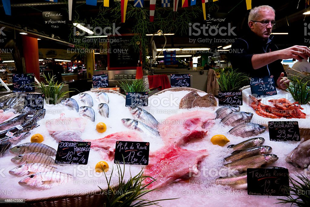 Fish stall at March? des Capucins, Bordeaux, France stock photo
