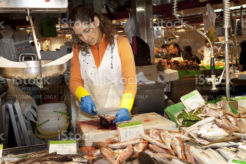 Fish stall at the Boqueria Market stock photo