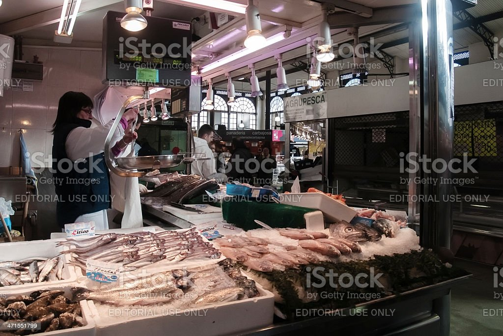 Fish stall on a market stock photo
