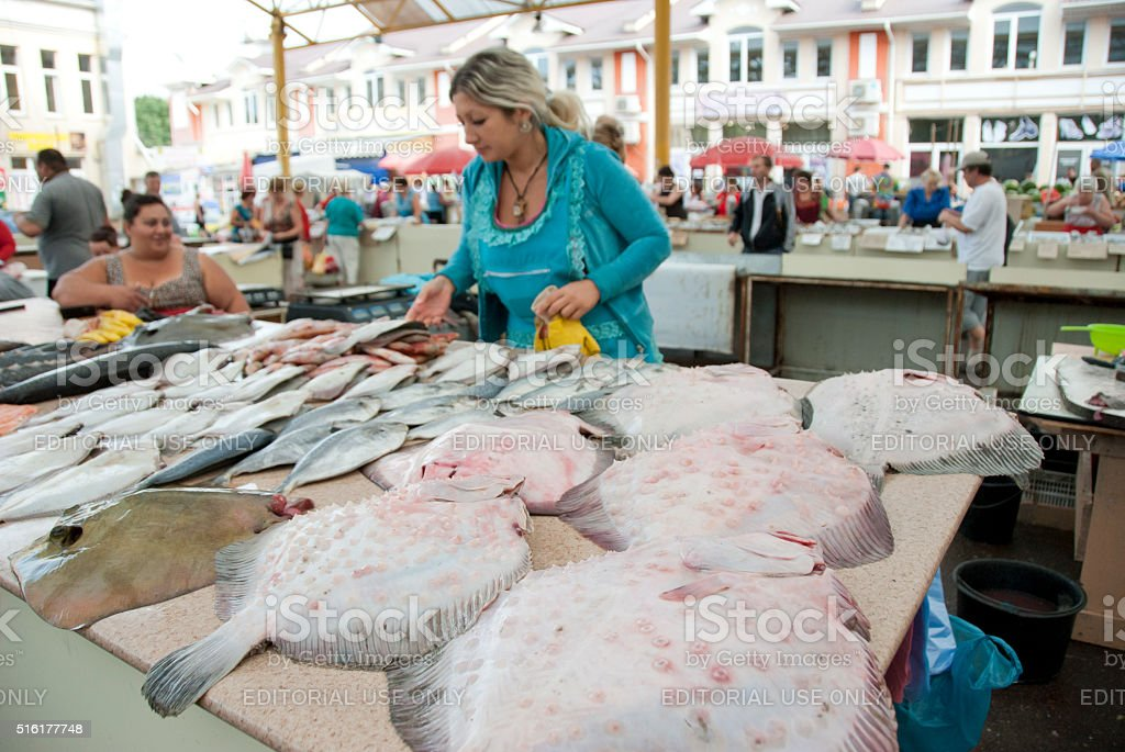 Fish stalls at the famous fish market Pryvoz, Odessa, Ukraine. stock photo