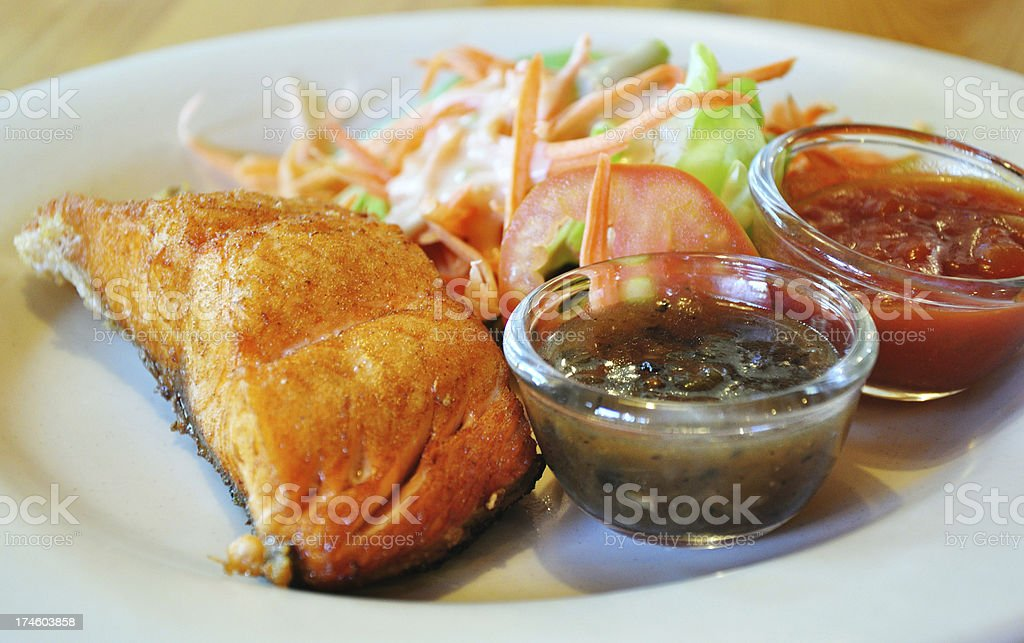 Fish steak with Salad royalty-free stock photo