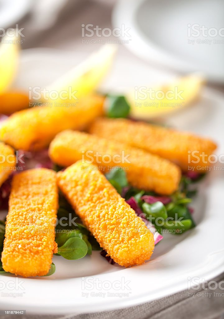 Fish Sticks with Salad royalty-free stock photo